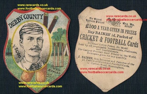 1885 Derby County captain England cricketer Frank Sugg Baines card